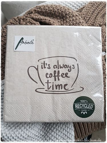 "NEW * RecyclingPapier-Servietten ""It's allways Coffee Time"""