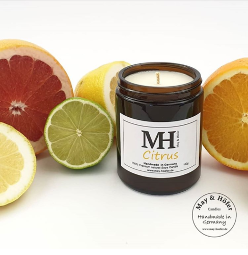 NEW * May & Höfer - Duft-Kerze im Apothekerglas - Duft: Citrus