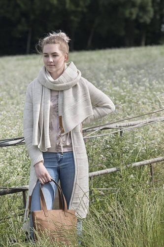 NEW * Knit Factory - SOL - lange Strickjacke in Beige -  Größe 36/38